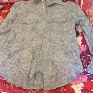 Lace print light blue and white button down shirt